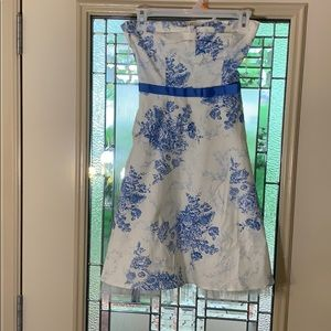Blue and white floral Party Dress